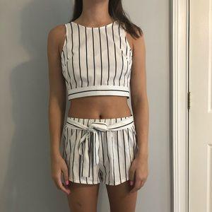 striped two piece set